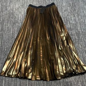 BCBG Gold Knife Pleat Skirt